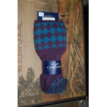 Chessboard Thistle/ Teal Socks With Garters
