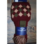 Chequers Burgundy Socks With Garters