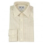 Men's Button-Down Country Shirt Beige/ Green