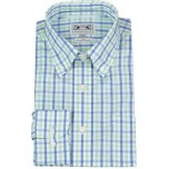 Men's Button-Down Shirt, Blue/Green Check