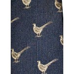 Bisley Silk Tie No.15 - Navy Pheasants